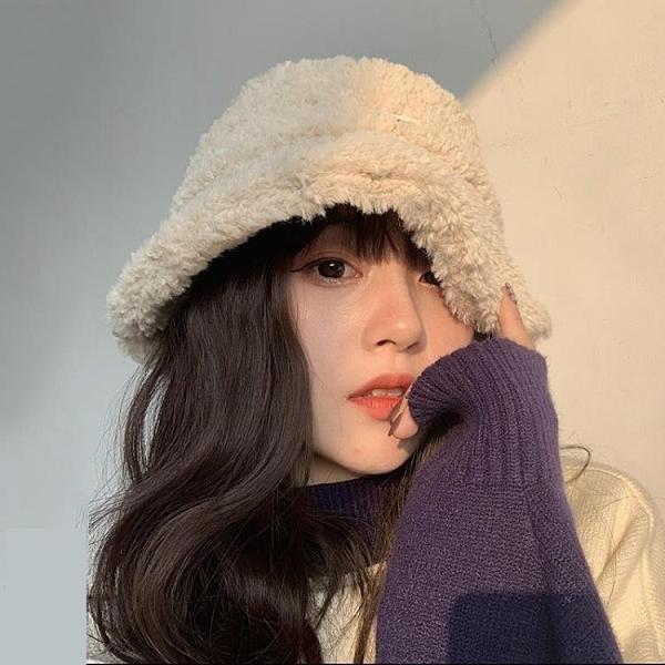 年底促銷# 韓版俏皮帽子女秋冬羊羔毛絨漁夫帽日系百搭復古軟妹學生保暖盆帽