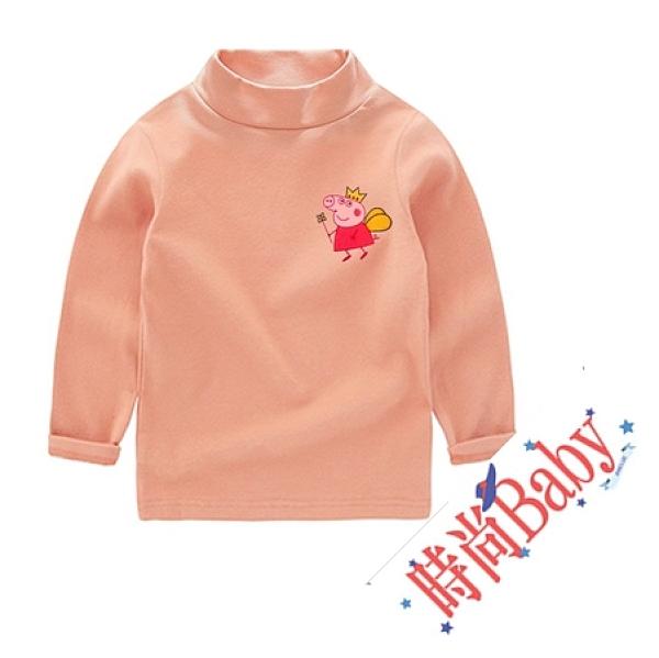 女Baby女童裝純棉長袖T恤粉色可愛佩佩豬高領上衣現貨