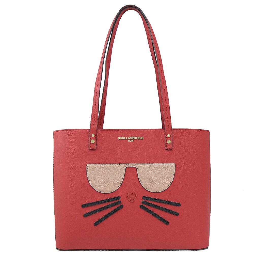 KARL LAGERFELD 卡爾 專櫃商品 新版貓咪防刮肩背托特購物包.深紅