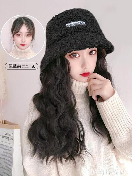 假髮帽子女韓版潮百搭網紅漁夫帽子一體式女冬天時尚長卷髮水波紋 韓國時尚週