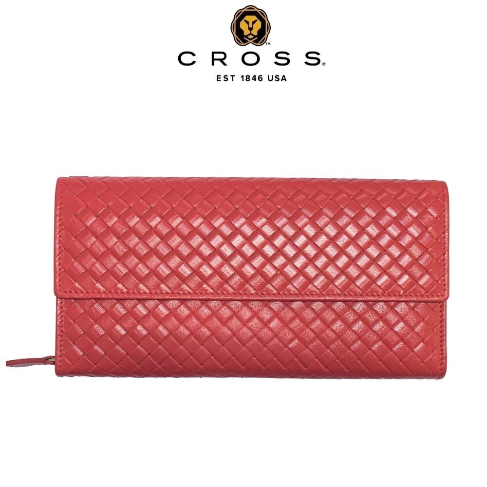 【CROSS】頂級NAPPA小羊皮編織紋鈕扣拉鍊長夾 附高貴送禮提袋(粉紅色 全新專櫃展示品)【限量1折 】