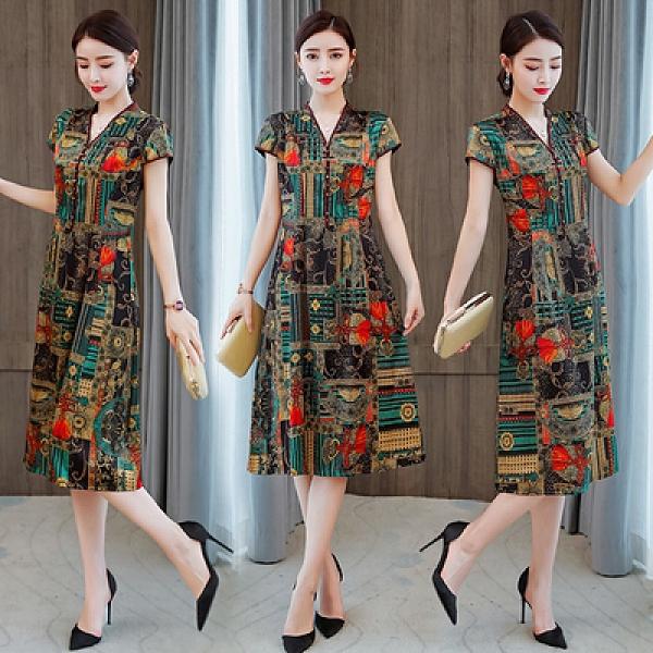 洋裝 夏季款 女士短袖連身裙輕款仿真絲連身裙高端品牌重磅桑蠶絲改良旗袍媽媽新NE53A快時尚