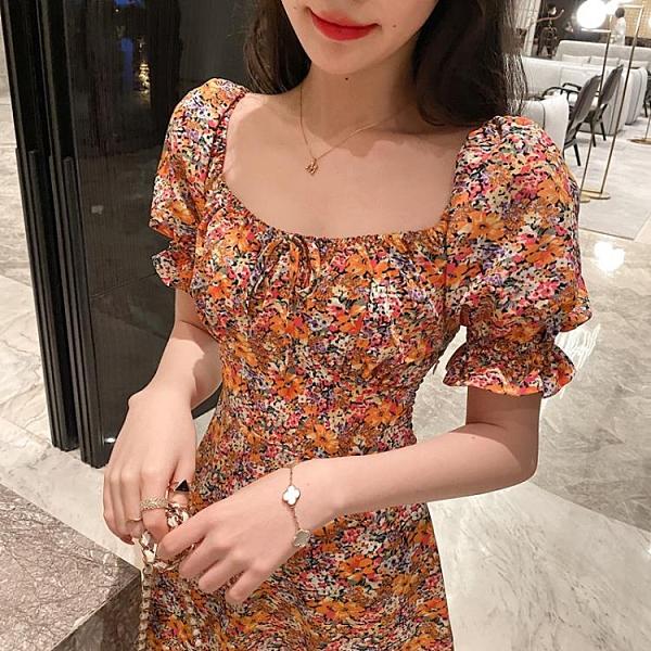 2021夏少女油畫碎花連衣裙法式復古大方領短裙泡泡袖顯瘦茶歇裙