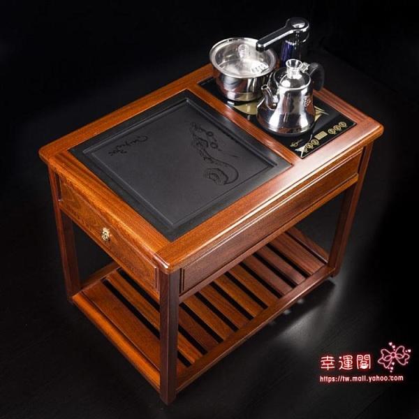 行動茶車 圈椅三件套紅木家具中式實木太師椅茶藝泡茶桌茶車茶台剛果花梨木T
