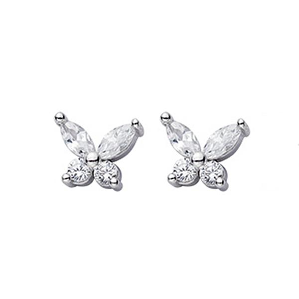 925純銀 蝴蝶 天然白水晶 耳環耳針釘-銀 防抗過敏