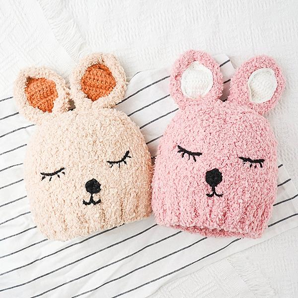 睡覺兔子耳朵毛絨保暖帽 童帽 帽子 保暖帽