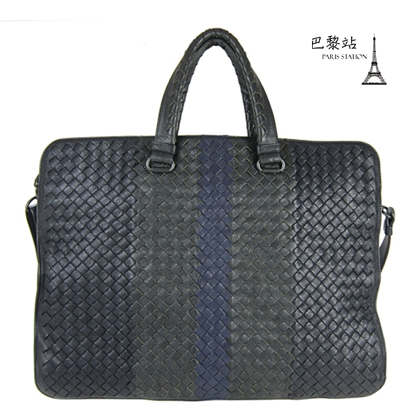 【巴黎站二手名牌專賣店】*現貨*BOTTEGA VENETA BV*藍黑拚色編織皮革兩用包 手提包