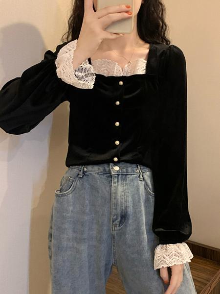 雪紡上衣 秋冬季新款法式方領小心機蕾絲打底衫內搭女上衣雪紡衫洋氣