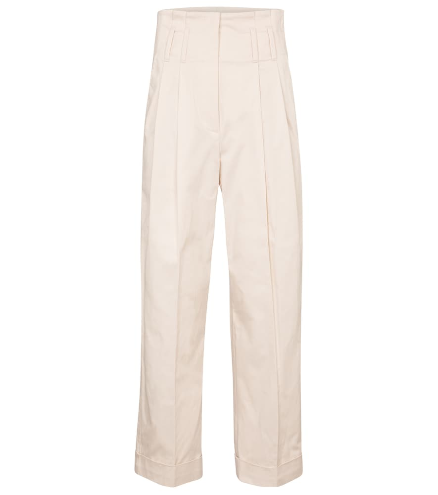 High-rise straight stretch-cotton pants