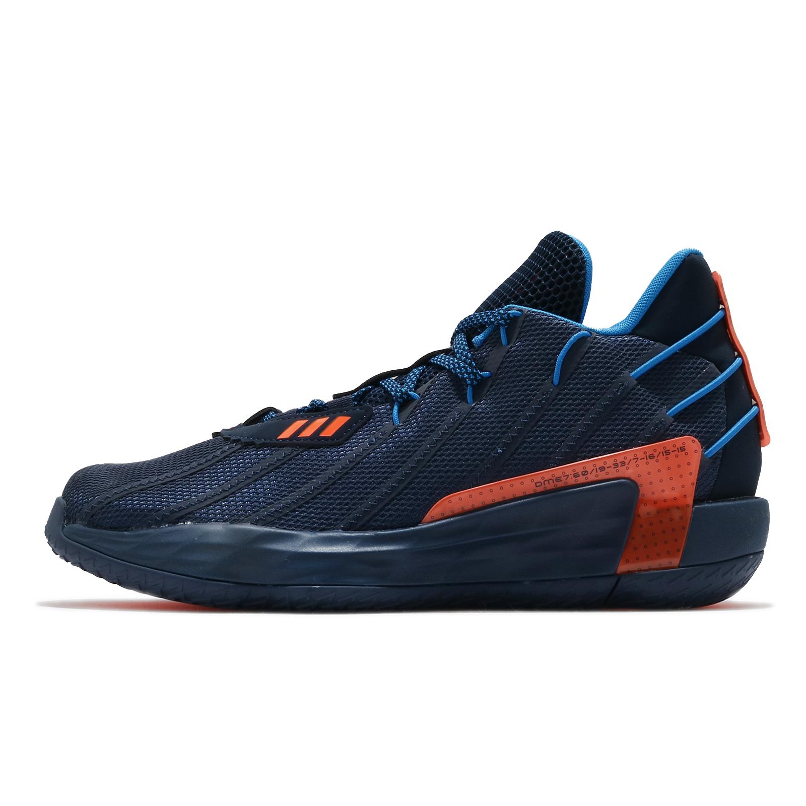 adidas 籃球鞋 Dame 7 Lights Out 藍 橘 男鞋 小李 生涯紀錄紀念款 【ACS】 FZ1103