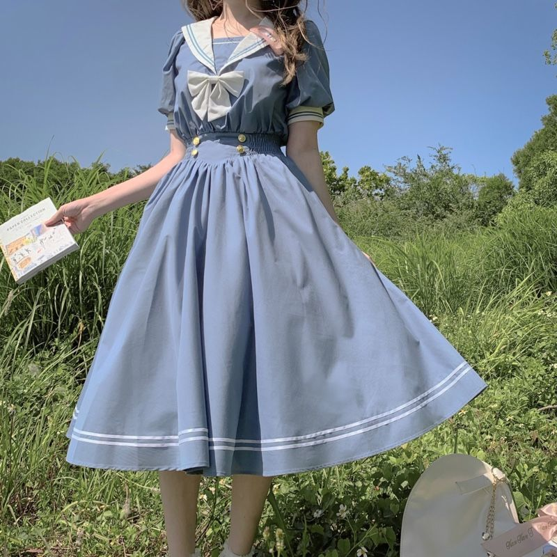 韓版日系水手服連衣裙女夏季新款學生百搭寬松海軍領仙女a字裙子