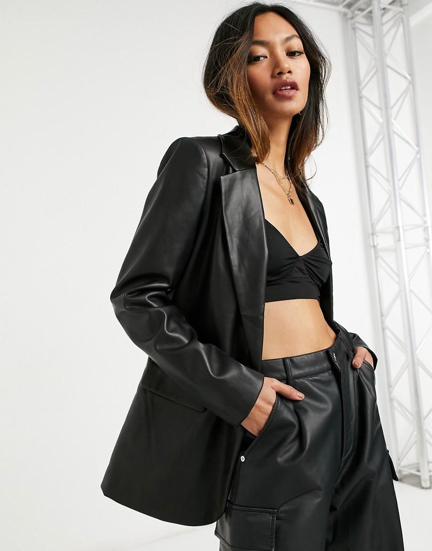 Vero Moda leather look blazer in black