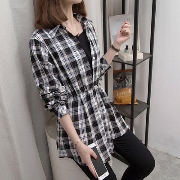 長袖襯衫 大碼春款大碼女裝胖mm顯瘦心機 上衣 假兩件格子襯衫1159M037A依佳衣