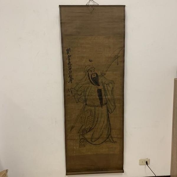 家居客廳捲軸畫壁畫掛畫關羽仿古捲軸布藝工藝品(170*60/@777-8871)