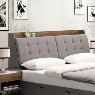 文創集 奈洛比 現代6尺亞麻布雙人加大床頭箱(不含床底+不含床墊)-182x30x110cm免組