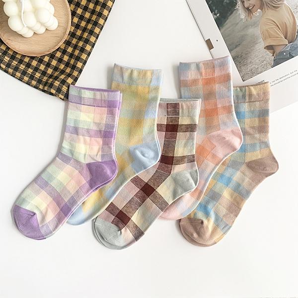 剁手指 【 格子女襪1雙 】純棉 中筒襪 復古襪 漸層襪 格子襪 個性襪 少女襪 52