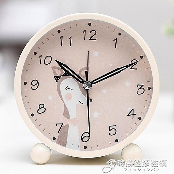 學生用兒童電子夜光卡通可愛小鬧鐘簡約鬧鈴創意床頭靜音鐘表時鐘 時尚芭莎