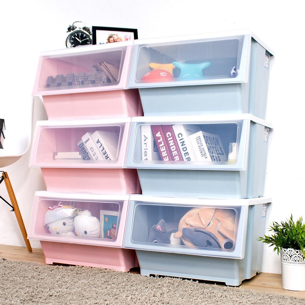 house-大容量-艾夏掀蓋式可堆疊玩具衣物收納箱-39l-六入005128