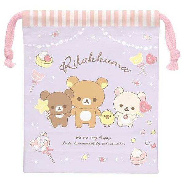 小禮堂 懶懶熊 日製 棉質束口袋 文具袋 小物袋 縮口袋 15x19cm (紫 甜點) 4974413-77895