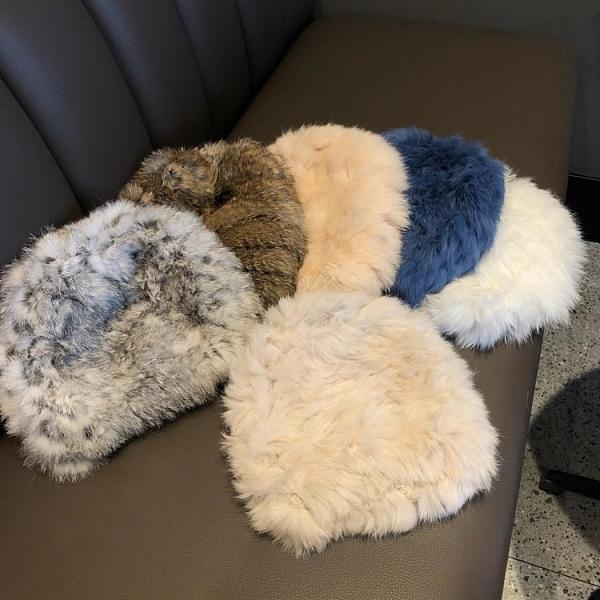 加厚保暖兔毛絨皮草壹體編織包頭針織帽子女秋冬季【輕奢時代】