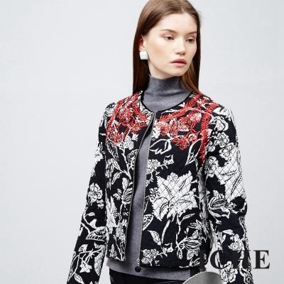 ICHE 衣哲 絎縫印花雕花外套