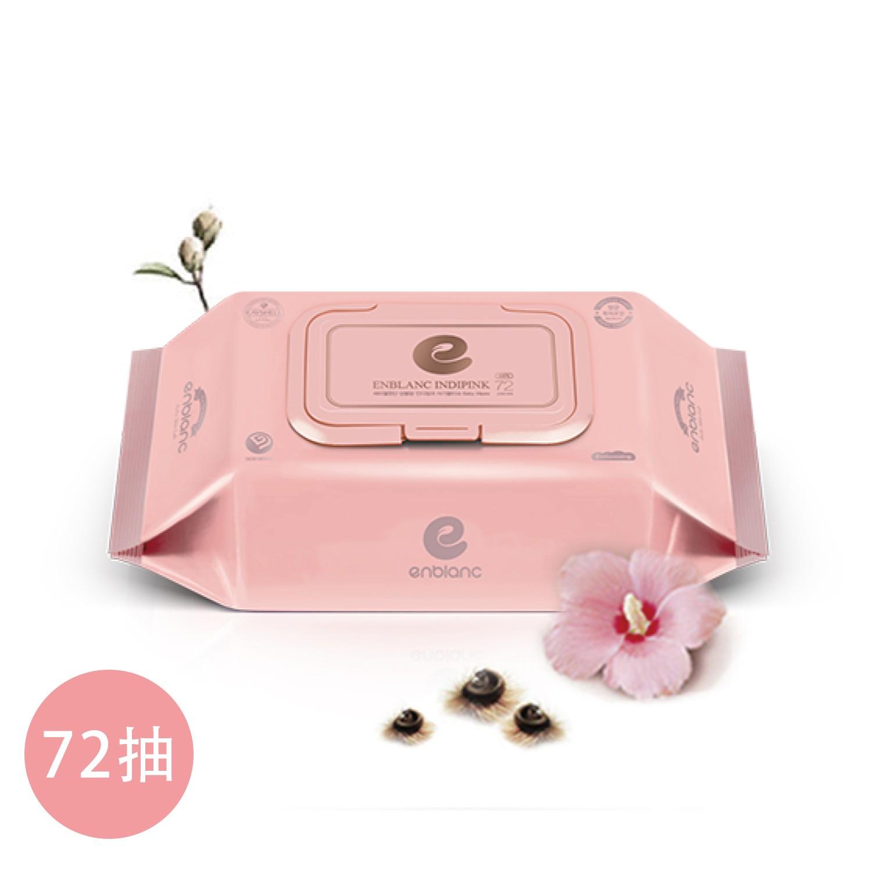 韓國 ENBLANC - 銀離子抗菌 輕柔木槿花 極柔純水濕紙巾 72抽-有蓋大包-粉色-單包