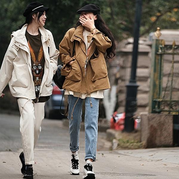 純色立領工裝外套 拉鏈長袖短款風衣/3色-夢想家-0104