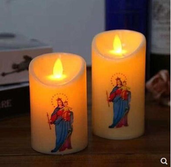 一對電子蠟燭圣母像12.5CM