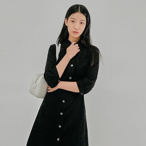 連身裙 翻領排扣質感七分袖洋裝PQ0163-創翊韓都