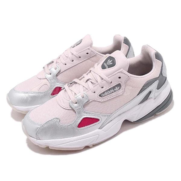 【四折特賣】adidas 休閒鞋 Falcon 粉紅 銀 女鞋 皮革鞋面 老爺鞋 復古慢跑鞋 運動鞋【ACS】 D96757