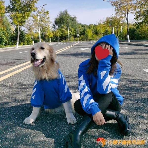 寵物親子装 藍色衛衣大狗衣服韓版大型犬貓咪衣服連帽衫【小獅子】