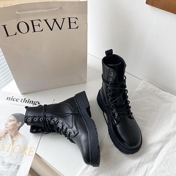 馬丁靴高筒 瘦瘦靴ins潮馬丁靴女年新款秋鞋百搭秋冬加絨英倫風短靴子黑 交換禮物