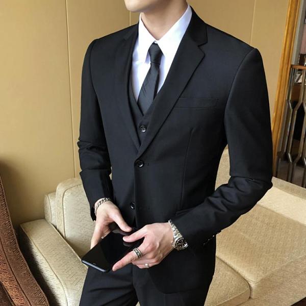 西裝套裝 西服套裝男士韓版修身伴郎新郎結婚正裝商務休閒職業小西裝【快速出貨八折優惠】