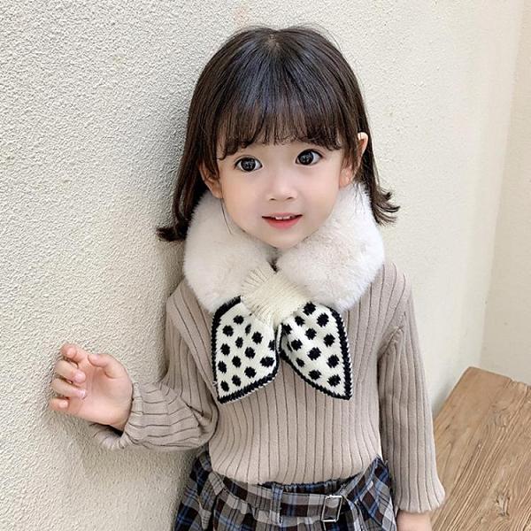 兒童圍巾女童冬季寶寶毛絨交叉圍脖女孩公主保暖學院風小孩領巾潮