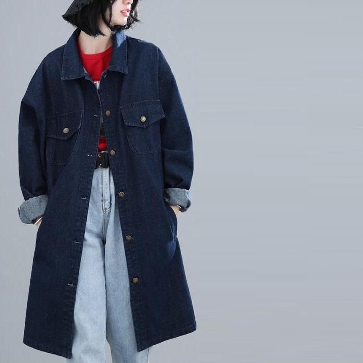 【衣時尚】大碼女裝大碼牛仔過膝牛仔風衣女 中長款寬鬆秋季外套263F2F135衣時尚