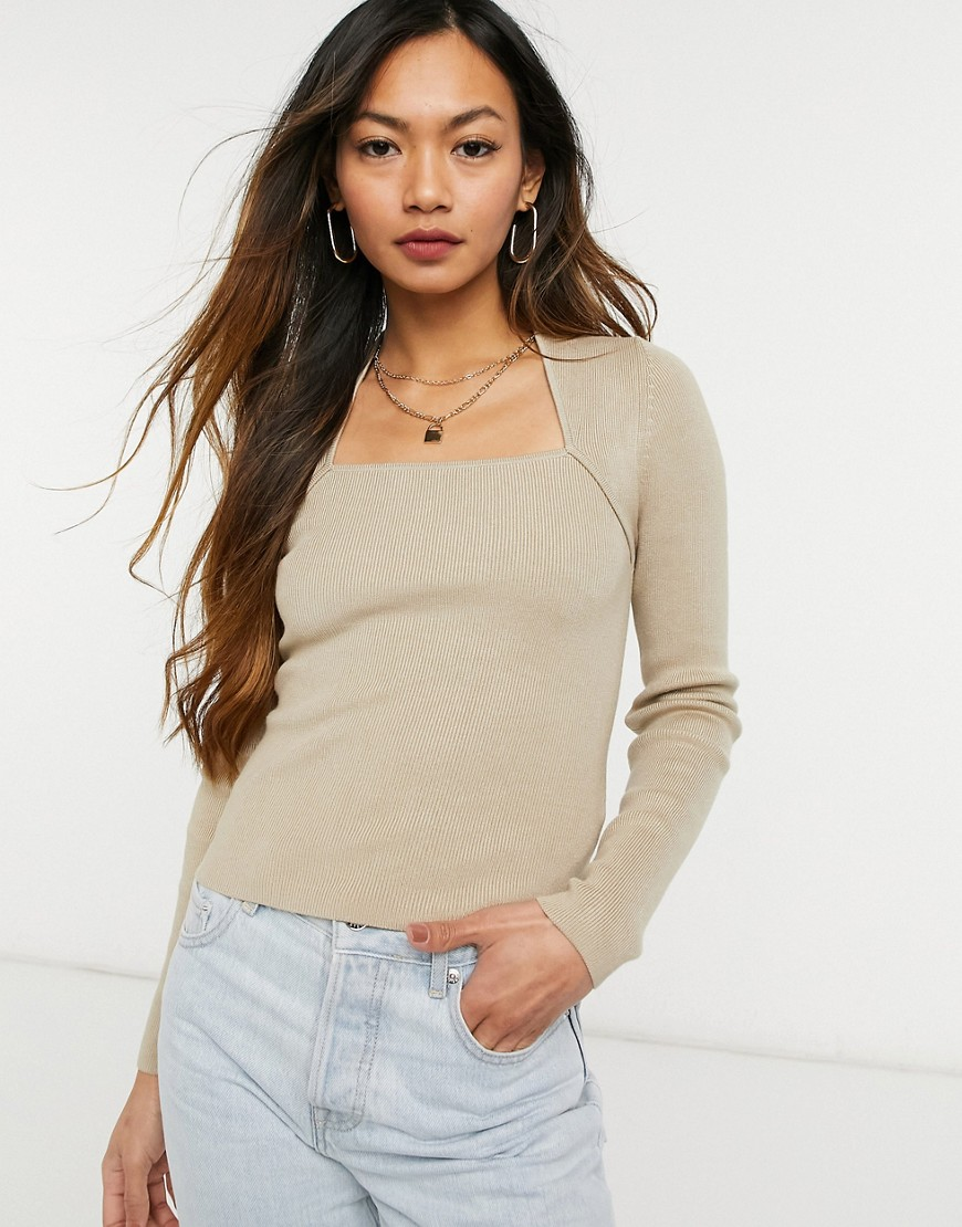 & Other Stories ecovero square neck knitted top in beige-Brown