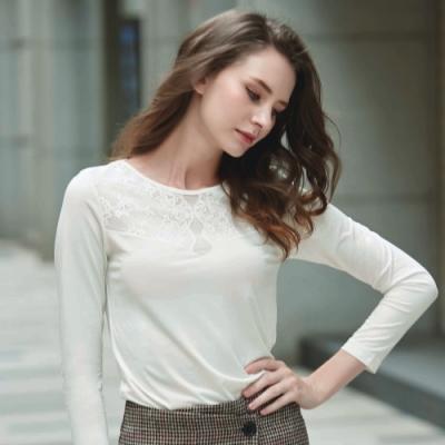 華歌爾-美姿衣-麗雅系列 M-LL蕾絲長袖款(雪肌白) 前後蕾絲-莫代爾柔膚舒適