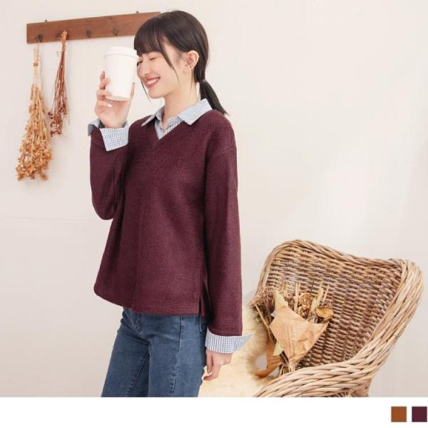 《AB14427-》假兩件.格紋拼接襯衫領暖感織紋緹花上衣 OB嚴選