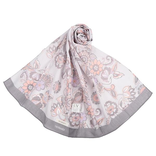 TRUSSARDI花卉圖騰抗UV純綿薄圍巾(淺灰色)989402-E