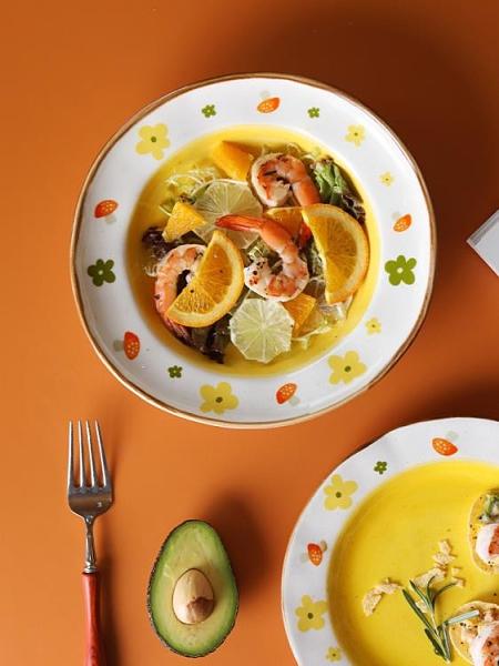西餐盤 藍蓮花家居盤子可愛少女心陶瓷淺盤西餐餐盤ins風餐盤菜盤平盤【快速出貨好康八折】