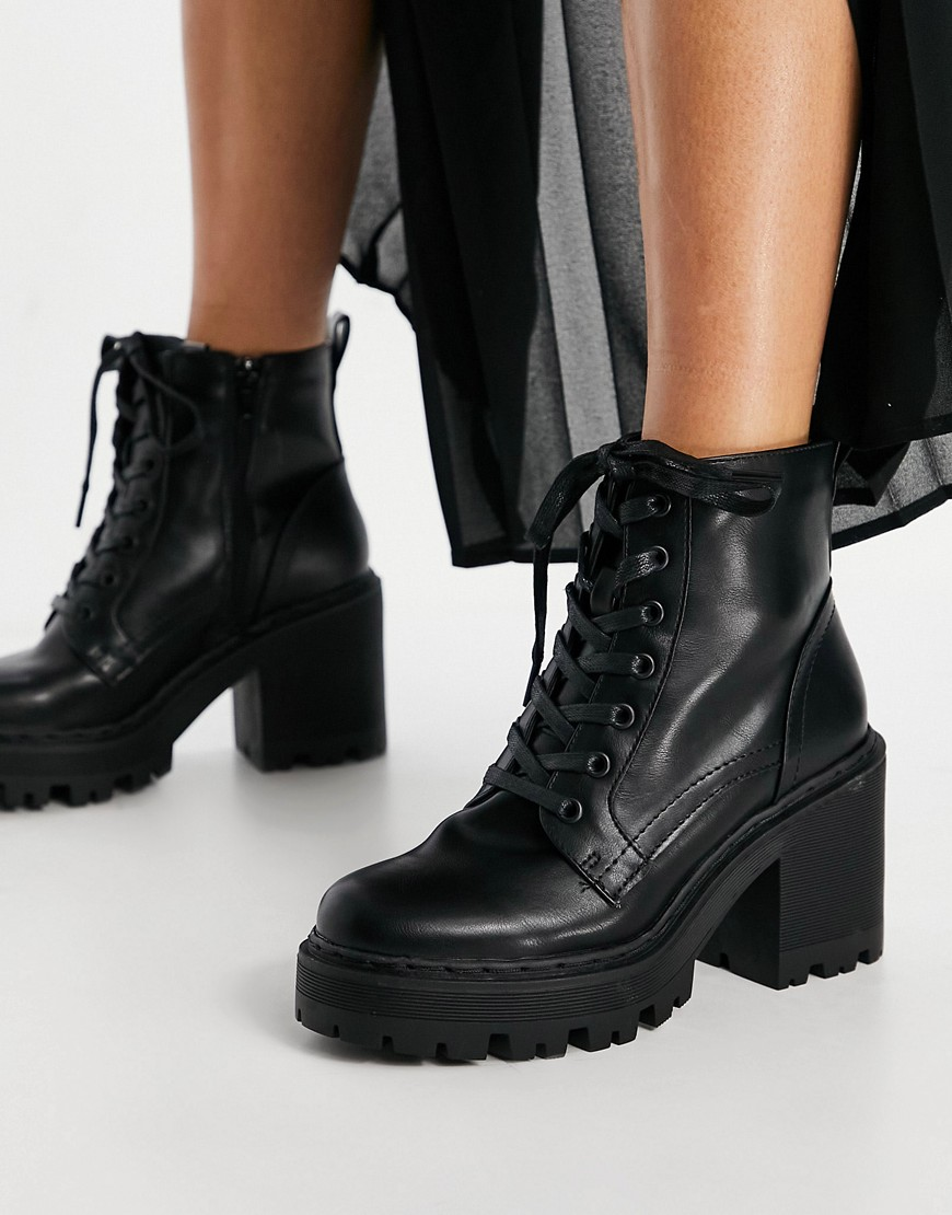 Public Desire Levels chunky lace up boots in black