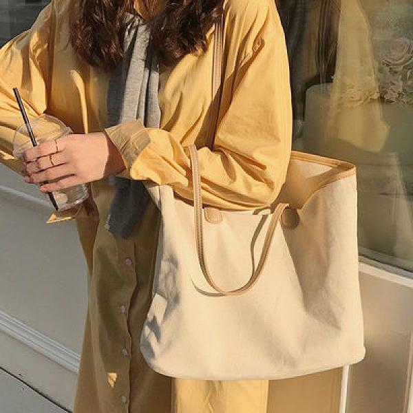 女包2020新款韓版大容量帆布包女單肩ins學生文藝《朵拉朵》