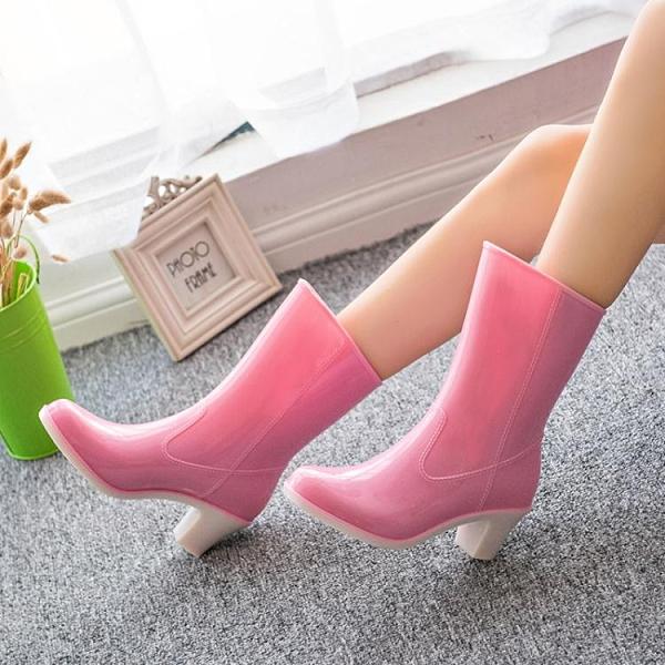 高跟雨鞋女 時尚外穿女雨靴 韓國高跟中筒水鞋 防滑套鞋防水膠鞋水靴‧防水
