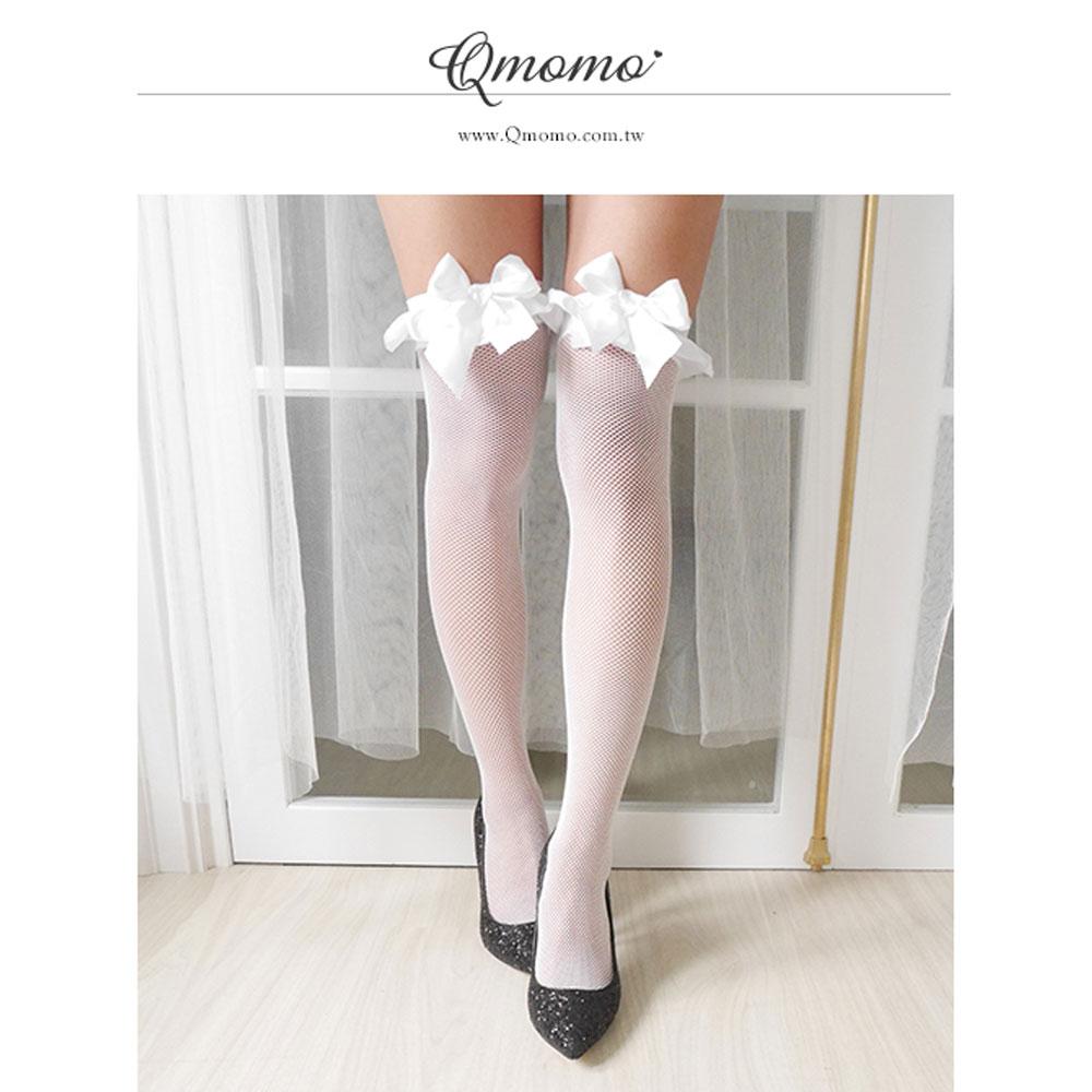 大腿襪 【狂野美姬】緞帶荷葉網襪(白色)