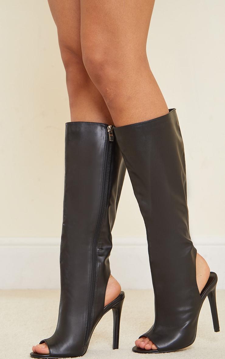 Black Pu Cut Out Knee High Heeled Boots