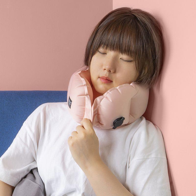都市之森 樹-口袋充氣頸枕/午睡枕 檸檬黃