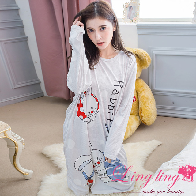 lingling A4306-02全尺碼-淘氣兔子圓點直條紋長袖連身裙睡衣(柔感灰)