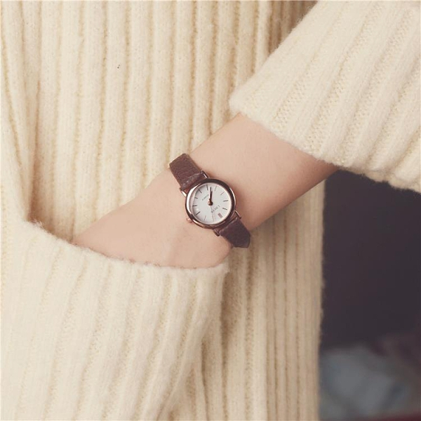 手錶 韓國訂單氣質時尚潮流女士經典圓形中學生百搭女生簡約鏈韓版手錶 優拓