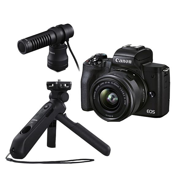 (分期零利率) 3C LiFeCanon EOS M50 MARK II 15-45mm +HG-100TBR+DM-E100 影音手柄麥克風組(公司貨)