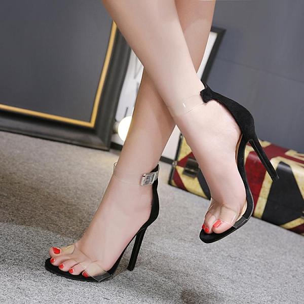 促銷九折 速賣通 Lazada Women High 歐美性感透明露趾一字扣帶高跟涼鞋